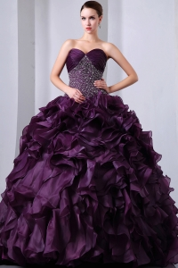 Dark Purple A-Line / Princess Brush Train Sweetheart Beading and Ruffles Quinceanea Dress Organza