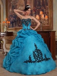 Discount Blue Sweet 16 Dress Strapless Taffeta and Organza Beading and Pick-ups Ball Gown