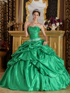 Discount Green Sweet 16 Quinceanera Dress Strapless Taffeta Beading Ball Gown