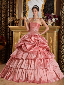 Discount Watermelon Red Sweet 16 Dress Strapless Taffeta Beading Ball Gown