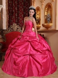 Exquisite Hot Pink Sweet 16 Dress Strapless Taffeta Beading Ball Gown