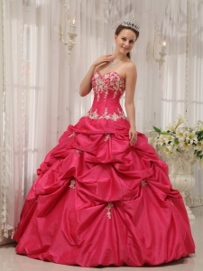 Formal Coral Red Sweet 16 Dress Sweetheart Taffeta Appliques Ball Gown