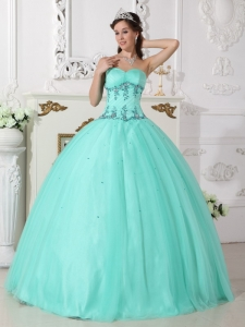 Modern Turquoise Sweet 16 Dress Sweetheart Tulle and Taffeta Beading Ball Gown