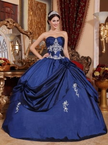 New Navy Blue Sweet 16 Quinceanera Dress Sweetheart Satin Appliques Ball Gown