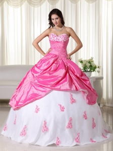 Pink And White Ball Gown Sweetheart Floor-length Taffeta Appliques Sweet 16 Dress