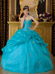 Popular Teal Sweet 16 Quinceanera Dress Sweetheart Organza Appliques Ball Gown