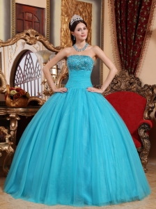 Popular Teal Sweet 16 Dress Strapless Tulle Embroidery with Beading Ball Gown