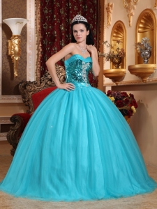 Popular Teal Sweet 16 Quinceanera Dress Sweetheart Tulle Beading Ball Gown