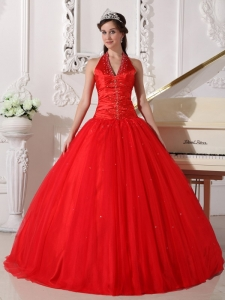Pretty Red Sweet 16 Quinceanera Dress Halter Tulle Beading Ball Gown