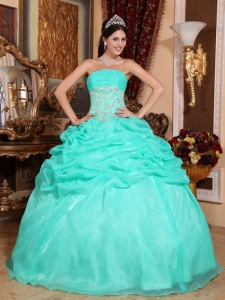 Romantic Turquoise Sweet 16 Dress Strapless Organza Appliques Ball Gown
