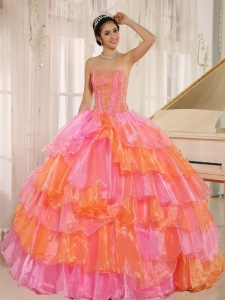 Ruflfled Layers and Appliques Decorate Up Bodice For Rose Pink and Orange Sweet 16 Dress