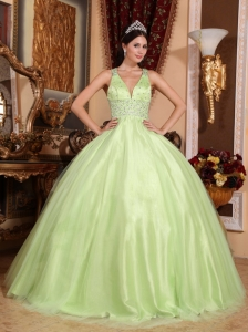 Simple Yellow Green Sweet 16 Dress V-neck Tulle and Taffeta Beading Ball Gown