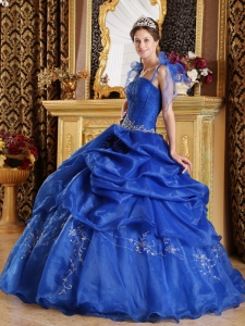 The Super Hot Blue Sweet 16 Dress Spaghetti Straps Organza Appliques Ball Gown