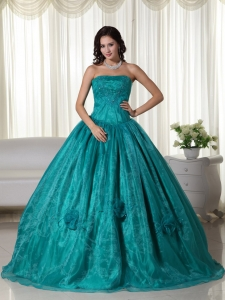 Turquoise Ball Gown Strapless Floor-length Organza Beading Sweet 16 Dress