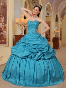 Wonderful Teal Sweet 16 Quinceanera Dress Sweetheart Taffeta Beading Ball Gown