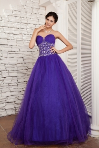 2013 New Style Purple Sweetheart Sweet 16 Dress Tulle Beading Floor-length