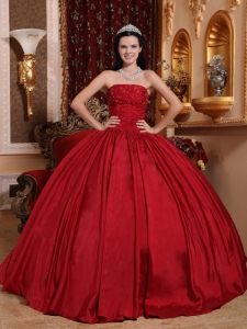 Discount Red Sweet 16 Quinceanera Dress Strapless Taffeta Beading Ball Gown