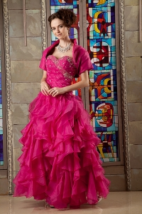 Hot Pink Prom Dress Sweetheart Beading Floor-length Organza