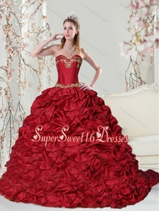 Luxurious Sweetheart 2015 Red Quinceanera Dress with Embroidery and Pick Ups