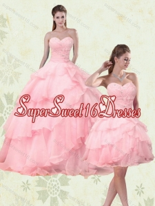 2015 Cute Sweetheart Beading Quinceanera Dresses with Ruffled Layers