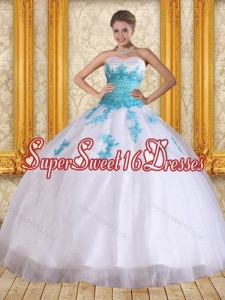 2015 Cute Sweetheart Floor Length Quinceanera Dress in White and Blue