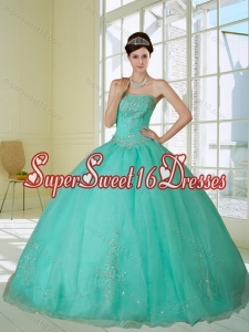 2015 Exclusive Appliques and Beading Quinceanera Dress in Apple Green