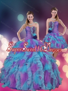 2015 Exclusive Strapless Multi Color Quinceanera Dress with Beading and Ruffles