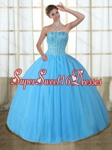 2015 Gorgeous Baby Blue Strapless Quinceanera Dress with Beading