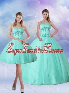 2015 Perfect Apple Green Quince Dress with Appliques and Beading
