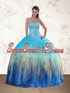 2015 Sweetheart Multi Color Quinceanera Dress with Ruffles and Beading