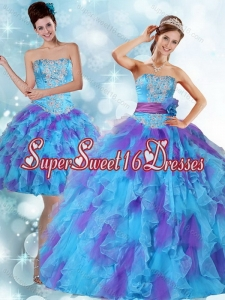 Beading Strapless Multi Color Quinceanera Dresses with Ruffles and Sash for 2015