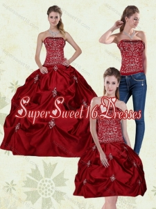 Luxurious 2015 Strapless Embroidery Quinceanera Dresses in Wine Red