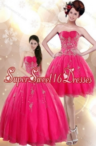 2015 Beautiful Strapless Floor Length Quince Dresses with Appliques in Hot Pink