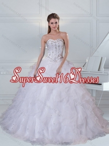 2015 Custom Made Sweetheart White Quinceanera Dress with Ruffles and Beading