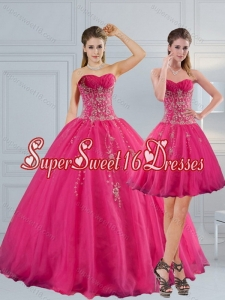 2015 Elegant Sweetheart Hot Pink Quinceanera Dress with Appliques and Beading