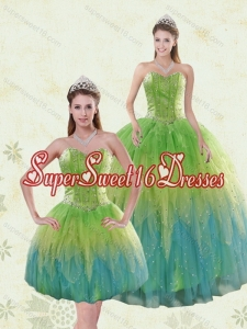 2015 Luxurious Multi-color Quinceanera Dresses with Appliques and Ruffles