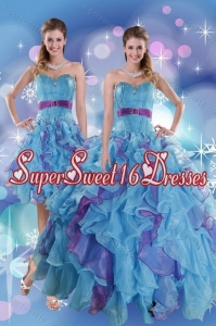 2015 Pretty Multi Color Quince Dresses with Ruffles and Beading