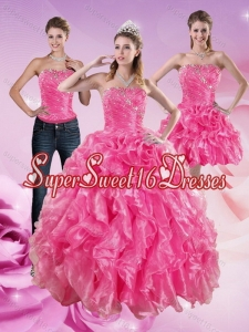 2015 Sophisticated Hot Pink Sweet 16 Dresses with Beading and Ruffles