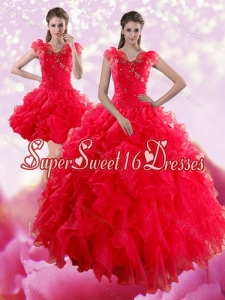 2015 Sophisticated Red Sweetheart Dresses for Quince with Ruffles and Beading