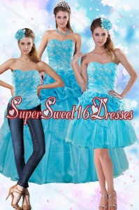 2015 Sophisticated Teal Quince Dresses with Embroidery and Pick Ups