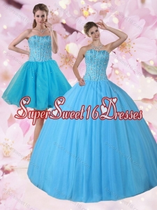 Custom Made 2015 Baby Blue Strapless Quinceanera Dress with Beading