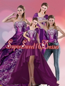 Custom Made Embroidery Strapless Quinceanera Dress in Purple for 2015