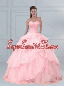 Custom Made Pink Sweetheart Beading Quinceanera Dresses with Ruffled Layers