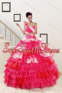 2015 Custom Made Ruffled Layers and Beading Multi Color Quinceanera Dresses