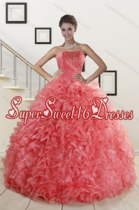 2015 Custom Made Watermelon Red Quince Dresses with Beading and Ruffles
