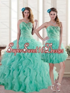 Custom Made Aqua Blue Quince Dresses with Beading and Ruffles for 2015