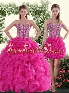 2015 Cute Sweetheart Hot Pink Sweet 16 Dresses with Beading and Ruffles