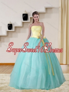 Strapless Multi Color 2015 Cute Quinceanera Gown with Bowknot