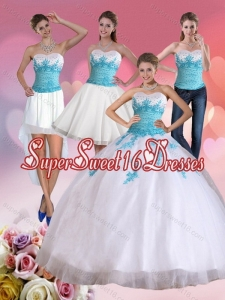 2015 Detachable Strapless Beading and Appliques Quinceanera Dress in White and Blue