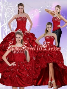 2015 Detachable Strapless Sweet 16 Dress with Embroidery and Pick Ups